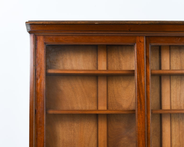 Victorian British Colonial Bookcase Sliding Teak Doors, 1950s For Sale