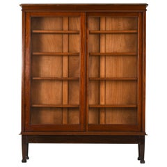 British Colonial Bookcase Sliding Teak Doors, 1950s