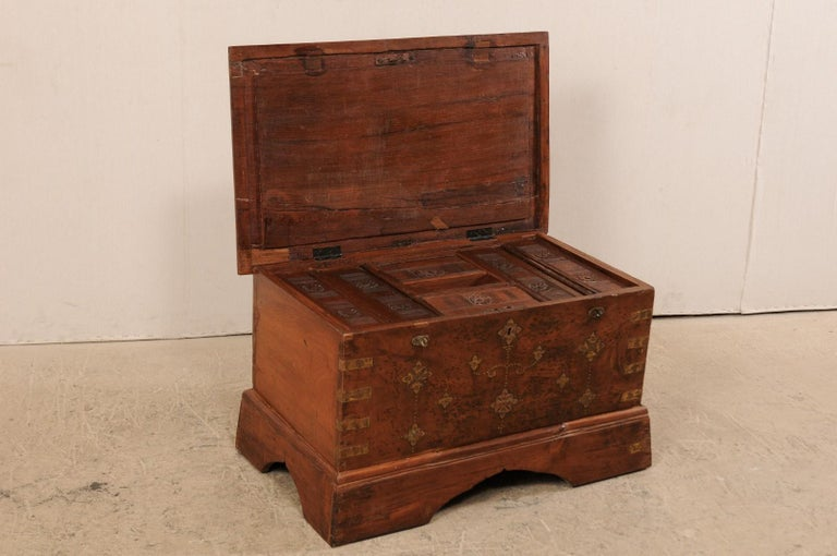 British Colonial Chest or Trunk with Compartments & Beautiful Floral Brass Inlay For Sale 5