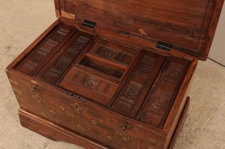 British Colonial Chest or Trunk with Compartments & Beautiful Floral Brass Inlay For Sale 6