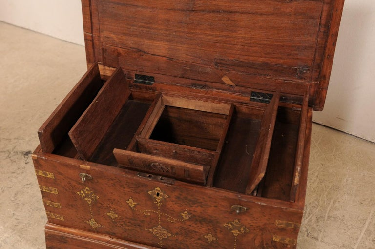 British Colonial Chest or Trunk with Compartments & Beautiful Floral Brass Inlay For Sale 8