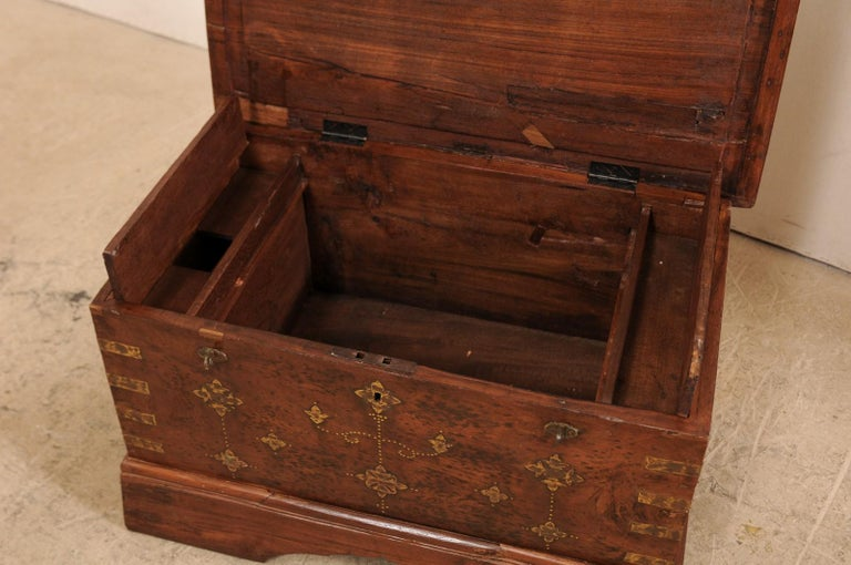 British Colonial Chest or Trunk with Compartments & Beautiful Floral Brass Inlay For Sale 9