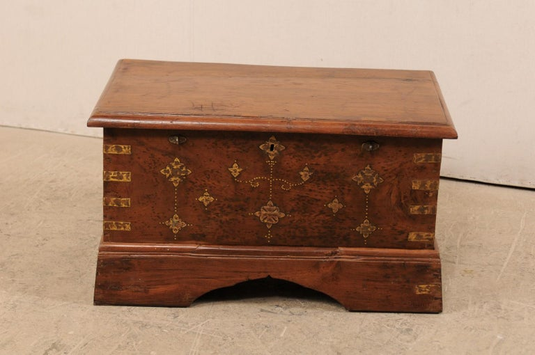 Indian British Colonial Chest or Trunk with Compartments & Beautiful Floral Brass Inlay For Sale