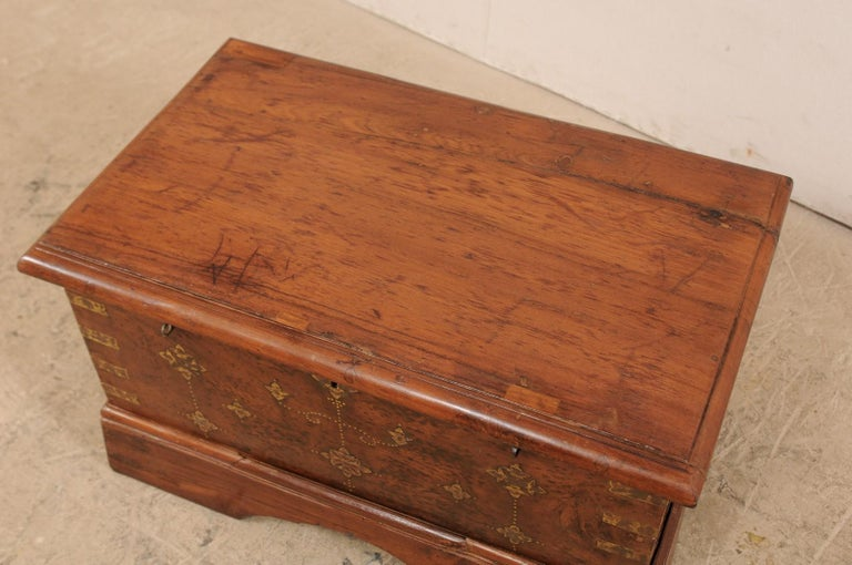 20th Century British Colonial Chest or Trunk with Compartments & Beautiful Floral Brass Inlay For Sale