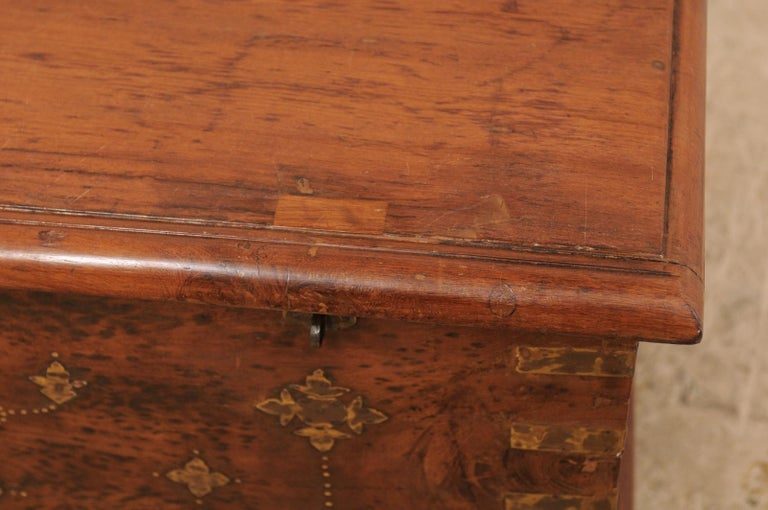 British Colonial Chest or Trunk with Compartments & Beautiful Floral Brass Inlay For Sale 1