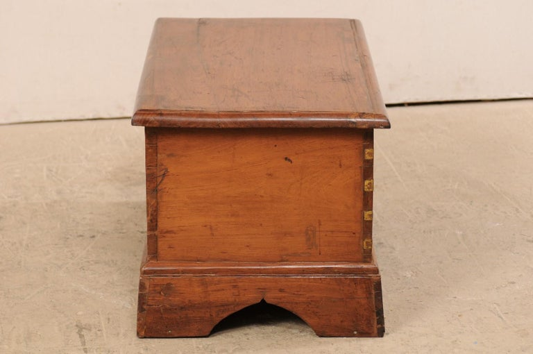 British Colonial Chest or Trunk with Compartments & Beautiful Floral Brass Inlay For Sale 2