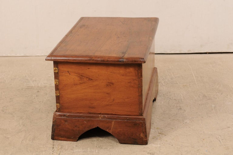 British Colonial Chest or Trunk with Compartments & Beautiful Floral Brass Inlay For Sale 3