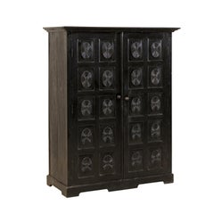 British Colonial Ebonized Wood Cabinet from Mid-20th Century