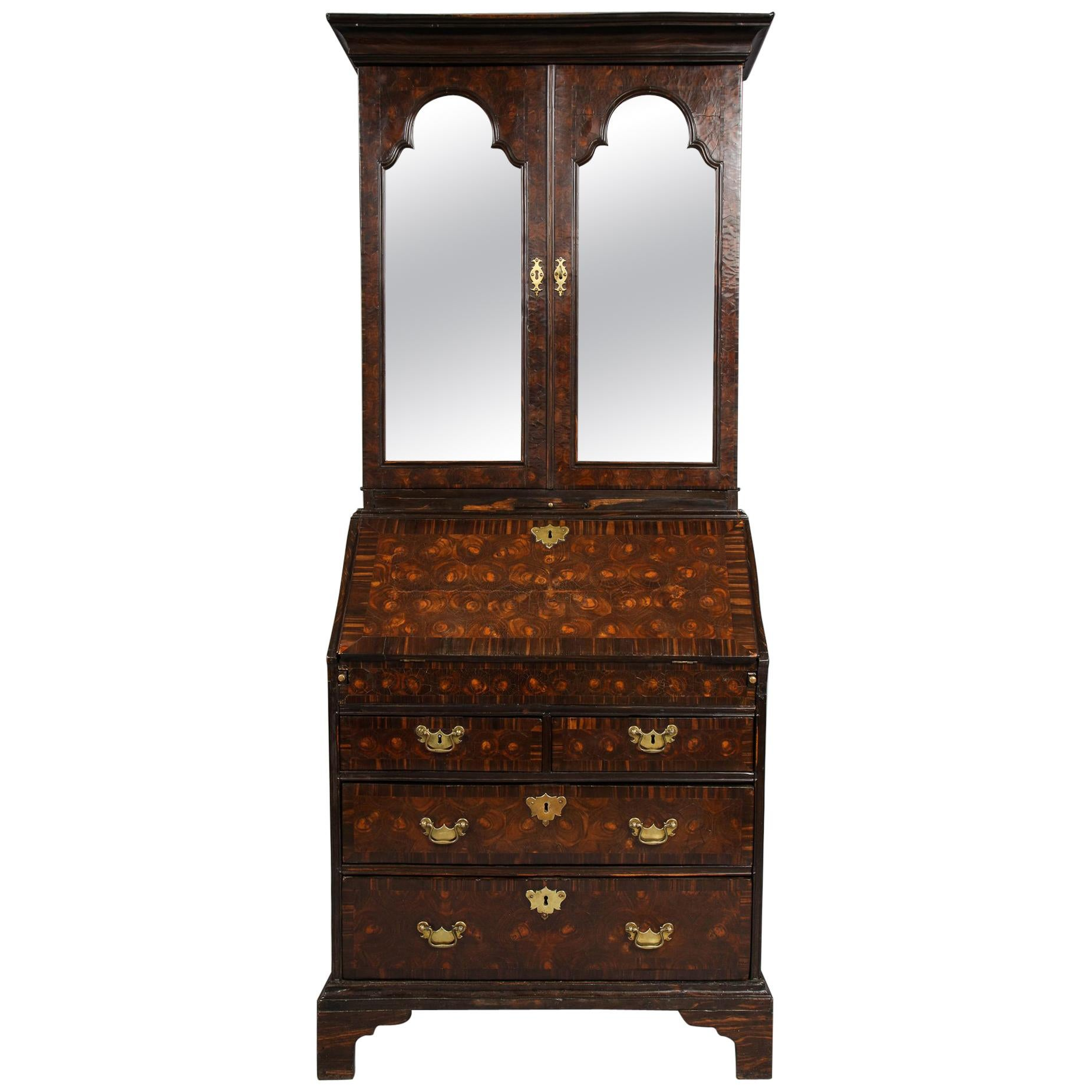 British Colonial Ebony Bureau Bookcase