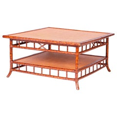 British Colonial Faux Bamboo and Grasscloth Square Coffee Table