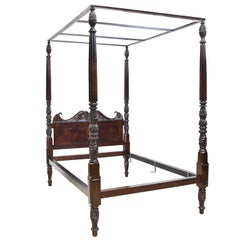 British Colonial Four Poster Queen Size Bed in Cuban Mahogany, circa 1820
