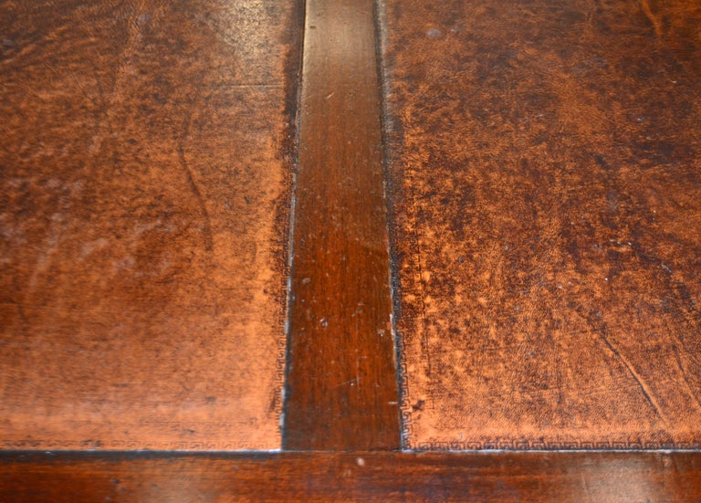 British Colonial Mahogany Campaign Style Leather Top Gentleman's Desk, 20th C. 5