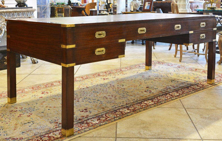 English British Colonial Mahogany Campaign Style Leather Top Gentleman's Desk, 20th C.