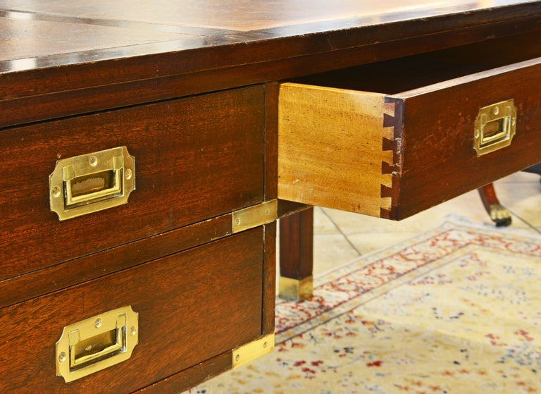 20th Century British Colonial Mahogany Campaign Style Leather Top Gentleman's Desk, 20th C.