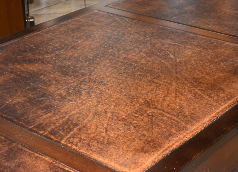 British Colonial Mahogany Campaign Style Leather Top Gentleman's Desk, 20th C. 3