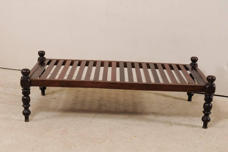 Carved British Colonial Midcentury Slat Wood Daybed from India with Turned Legs For Sale