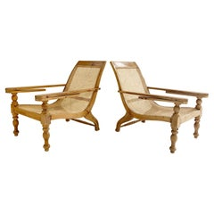 British Colonial Plantation Chairs with Sheepskins, Pair