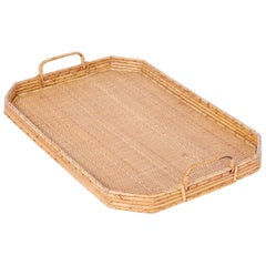 British Colonial Rattan and Grass Cloth Serving Tray