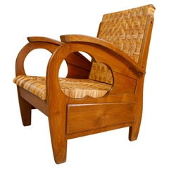 British Colonial Rattan and Wood Art Deco Arm Chair, India, 1920s