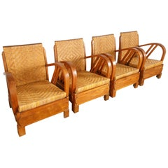 British Colonial Rattan and Wood Art Deco Lounge Chairs, c. 1920s, Set of Four