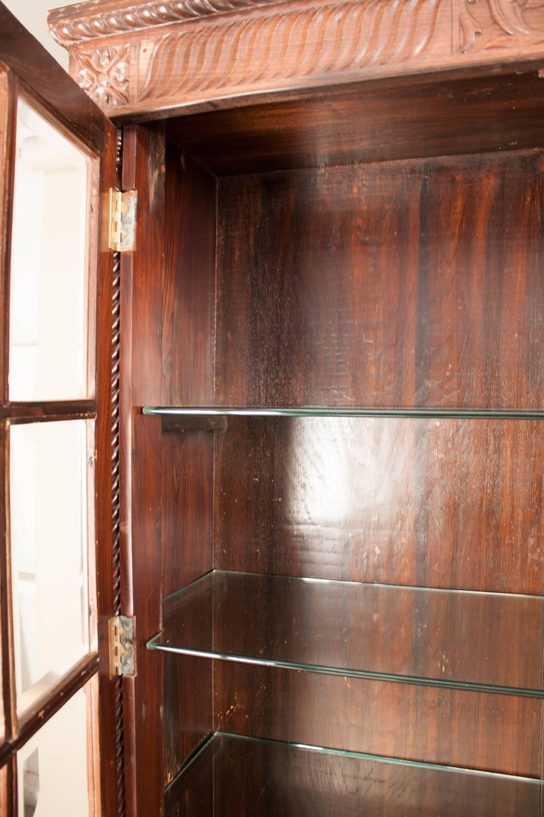 British Colonial Rosewood Cabinet With Glass Doors For Sale At 1stdibs