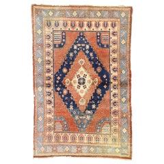 British Colonial Style Antique Persian Hamadan Rug, Entry or Foyer Rug