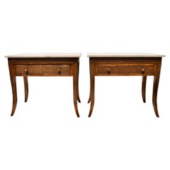 British Colonial Style Faux Bamboo and Grass Cloth Side Tables