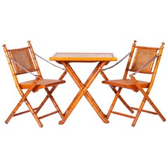 British Colonial Style Faux Bamboo Folding Chairs and Table