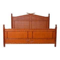 British Colonial Style Faux Bamboo Super King Bed Frame in Faux Tortoise