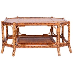 British Colonial Style Faux Burnt Bamboo and Grasscloth Coffee Table