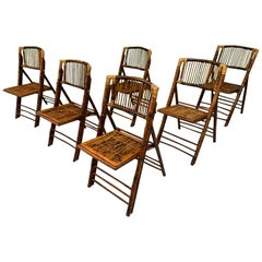 British Colonial Style Folding Bamboo Tiger Wood Chairs, Set of 6