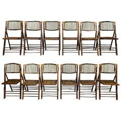 British Colonial Style Folding Bamboo Tiger Wood Safari Chairs, Set of 10