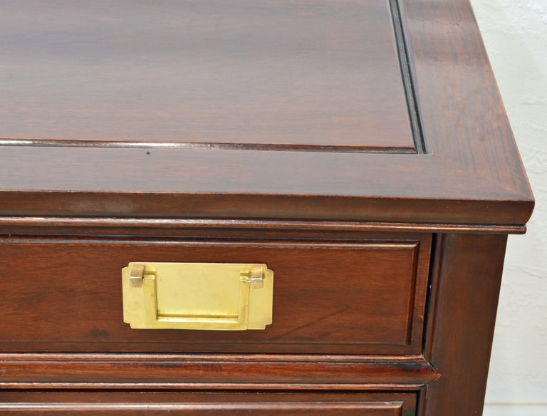 British Colonial Style Ming Inspired Solid Mahogany Five Drawer Desk, 20th C For Sale 4