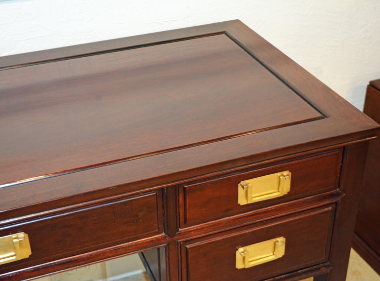 British Colonial Style Ming Inspired Solid Mahogany Five Drawer Desk, 20th C For Sale 7