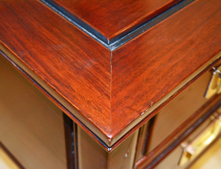 British Colonial Style Ming Inspired Solid Mahogany Five Drawer Desk, 20th C For Sale 8