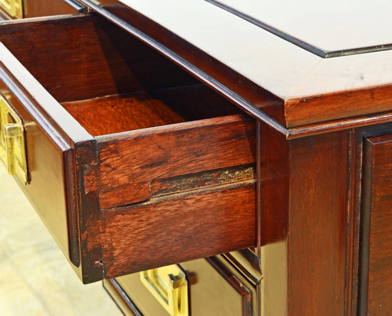 20th Century British Colonial Style Ming Inspired Solid Mahogany Five Drawer Desk, 20th C For Sale