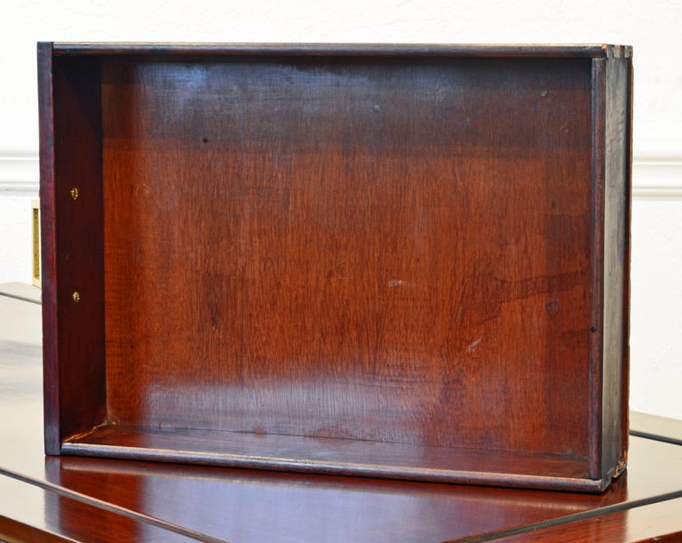 Brass British Colonial Style Ming Inspired Solid Mahogany Five Drawer Desk, 20th C For Sale