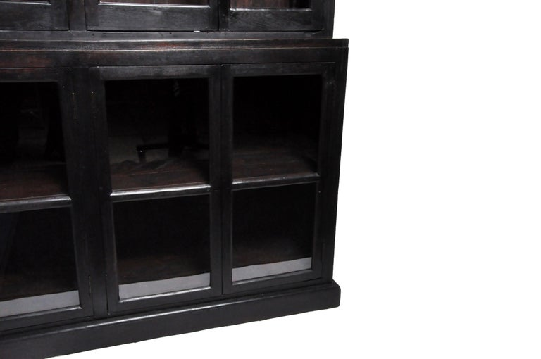 British Colonial Teak Wood Breakfront Bookcase For Sale 5