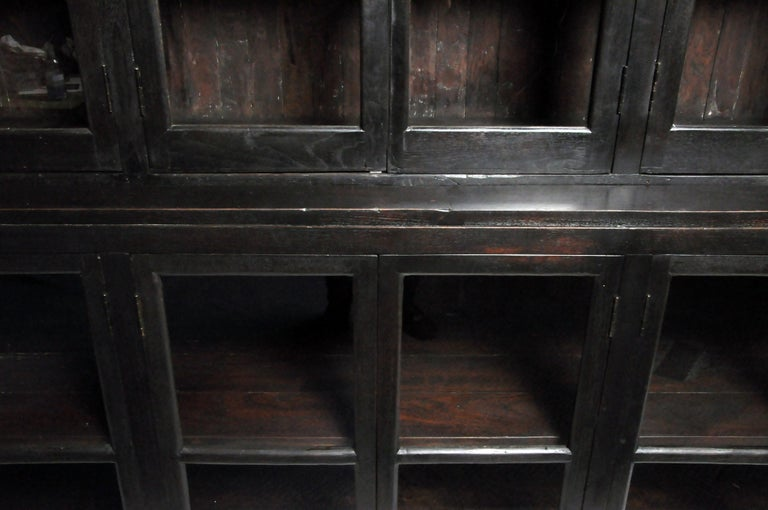 British Colonial Teak Wood Breakfront Bookcase For Sale 6