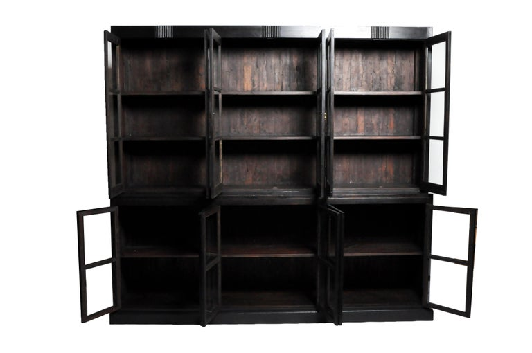 British Colonial Teak Wood Breakfront Bookcase For Sale 7