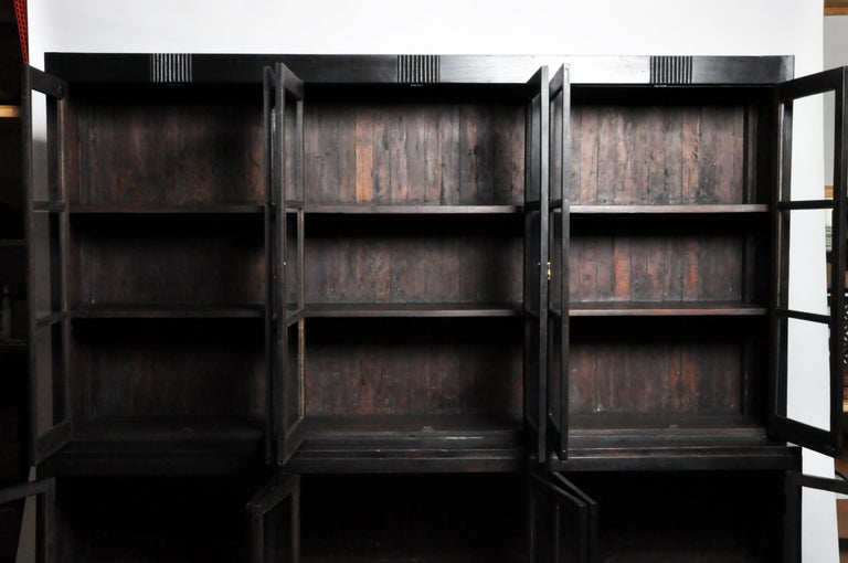 British Colonial Teak Wood Breakfront Bookcase For Sale 8