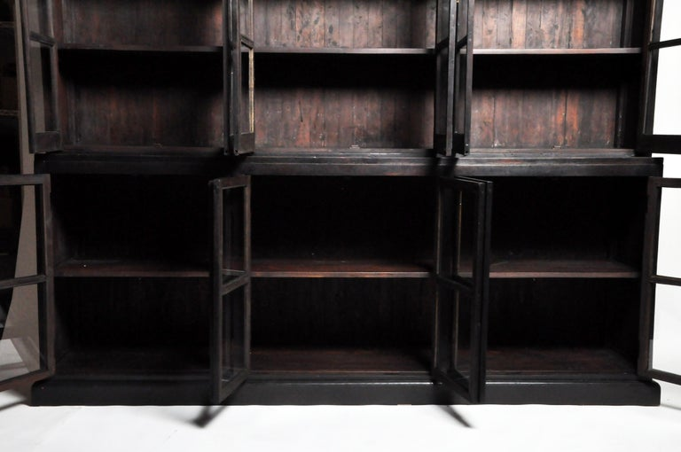British Colonial Teak Wood Breakfront Bookcase For Sale 9