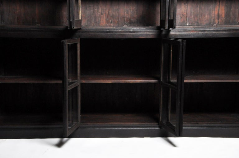British Colonial Teak Wood Breakfront Bookcase For Sale 10