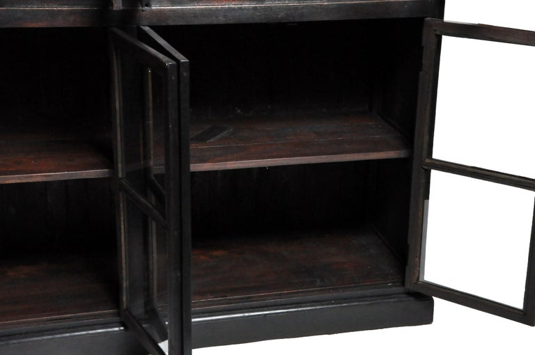 British Colonial Teak Wood Breakfront Bookcase For Sale 11