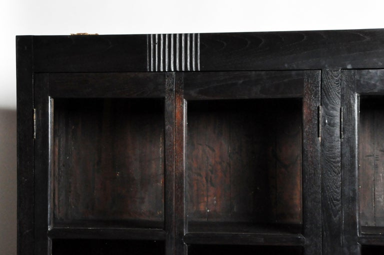 Glass British Colonial Teak Wood Breakfront Bookcase For Sale