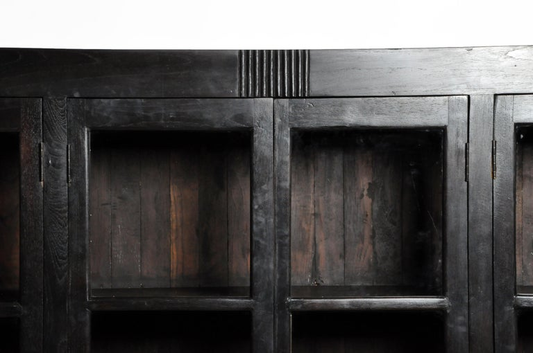 British Colonial Teak Wood Breakfront Bookcase For Sale 1