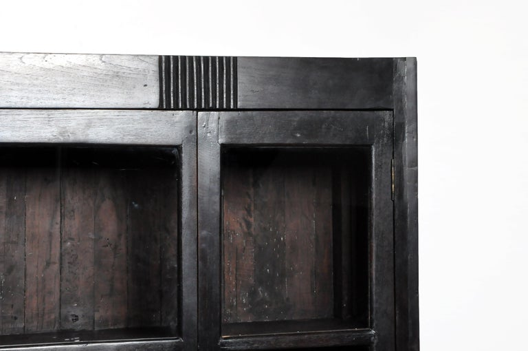 British Colonial Teak Wood Breakfront Bookcase For Sale 2