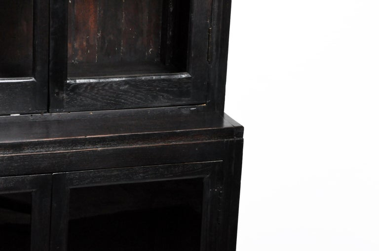 British Colonial Teak Wood Breakfront Bookcase For Sale 3