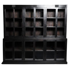 British Colonial Teak Wood Breakfront Bookcase