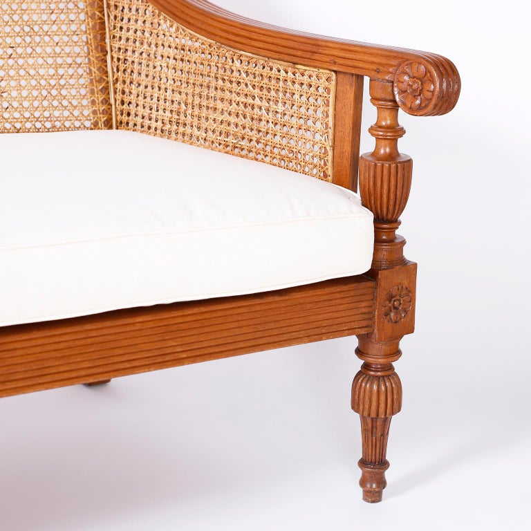 Indian British Colonial Teakwood Suite Sofa For Sale